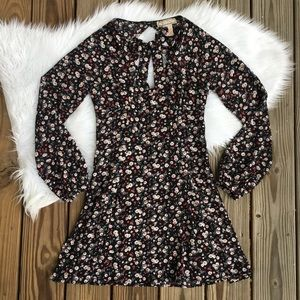Flying Tomato Black Floral Front Tie Dress
